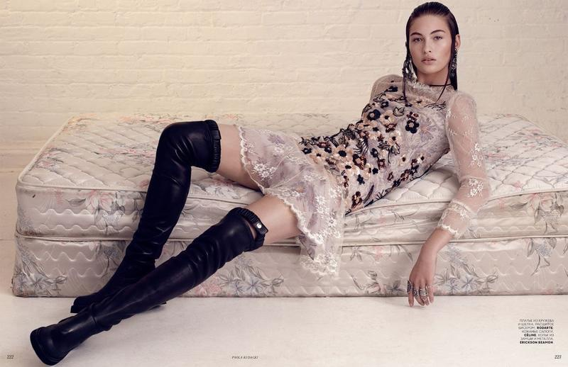 Model Grace Elizabeth lounges in Rodarte dress with Celine boots
