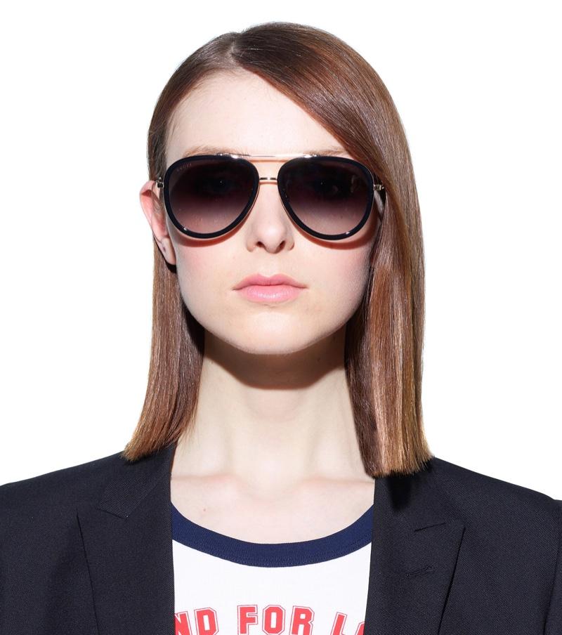 Gucci Aviator Sunglasses with Black Frame $298