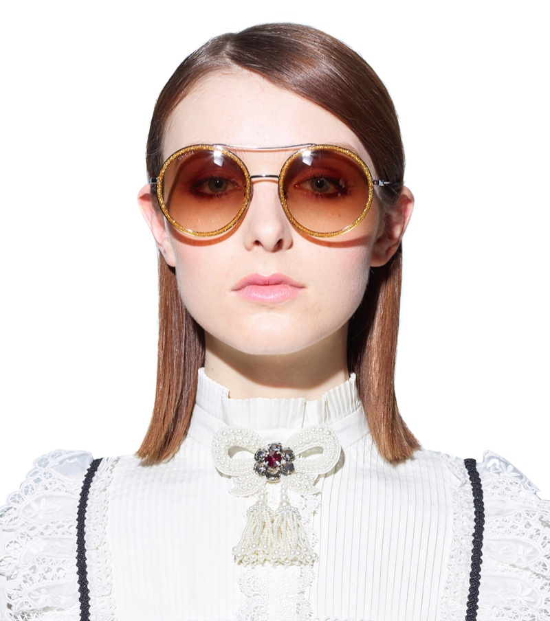 Gucci Round Sunglasses with Gold Frame $298