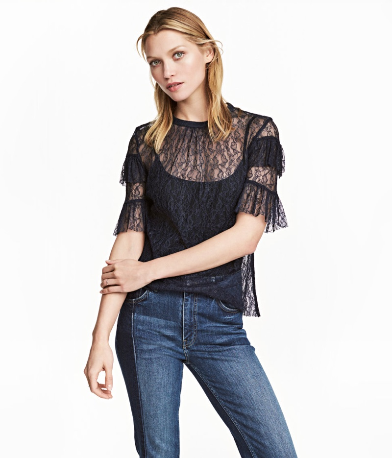 H&M Dark Blue Lace Blouse