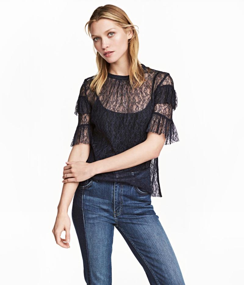 H&M Dark Blue Lace Blouse