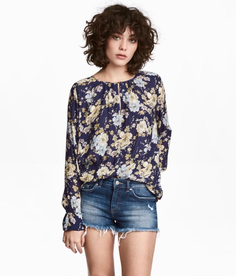 H&M Floral Print Long Sleeve Blouse