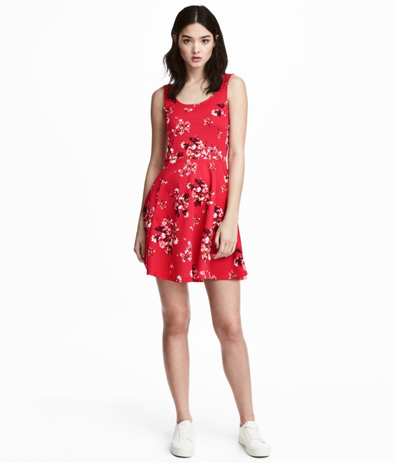 H&M Jersey Floral Print Dress