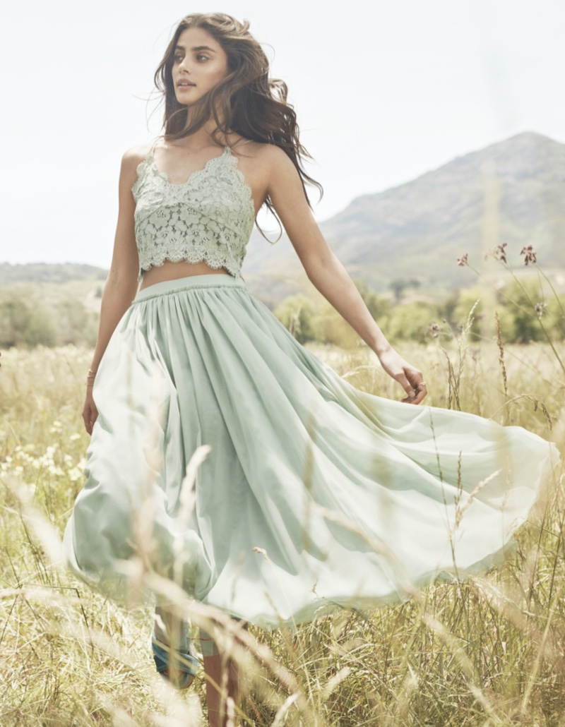 Taylor Hill models lace crop top and flowy skirt in H&M's spring 2017 campaign