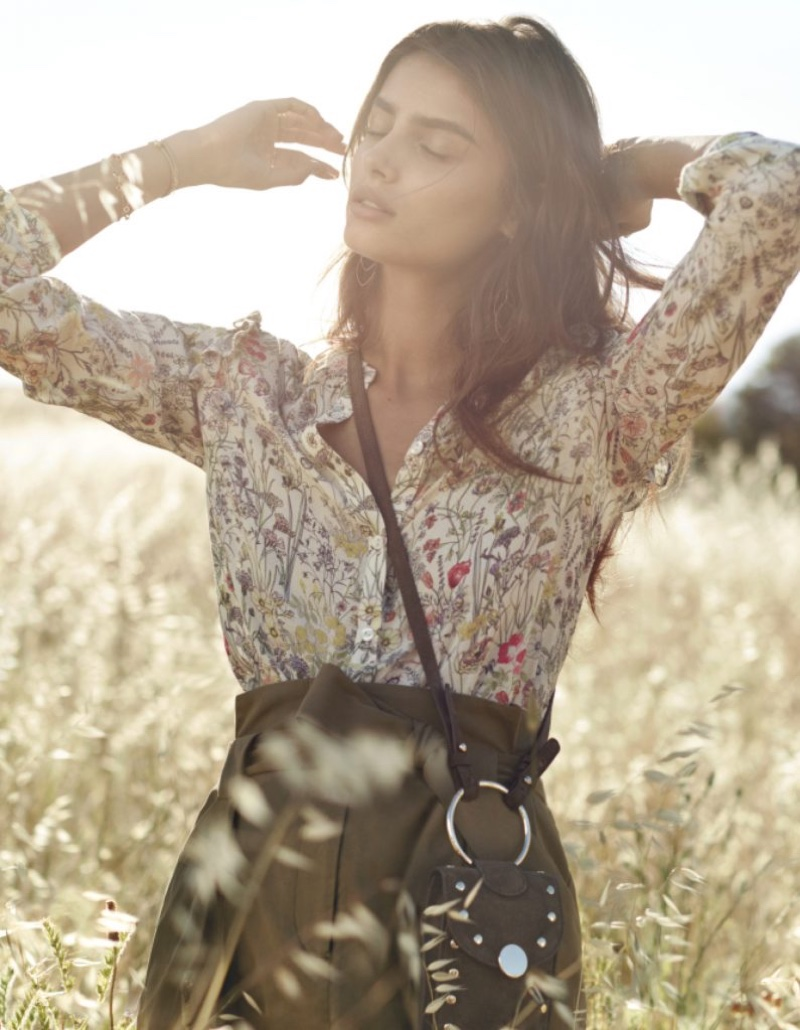 Model Taylor Hill poses outdoors in H&M's spring 2017 campaign