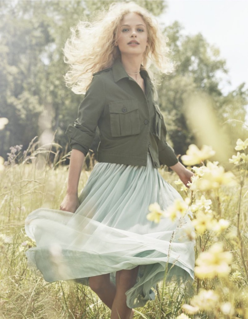 Frederikke Sofie models military inspired jacket and flowy dress in H&M's spring 2017 campaign