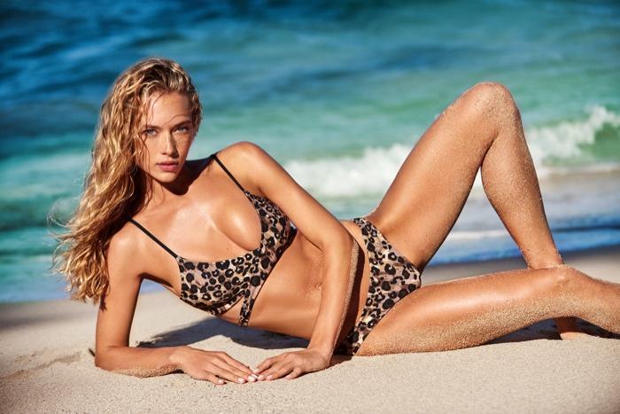 Flaunting her toned body, Hannah Ferguson models KikiRio leopard print bikini