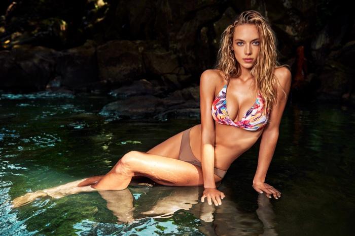 Hannah Ferguson models printed bikini top and beige bottoms from KikiRio