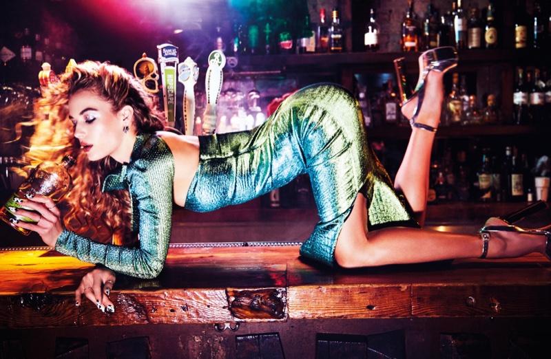 Hannah Ferguson brings glamorous style to a dive bar in the fashion editorial