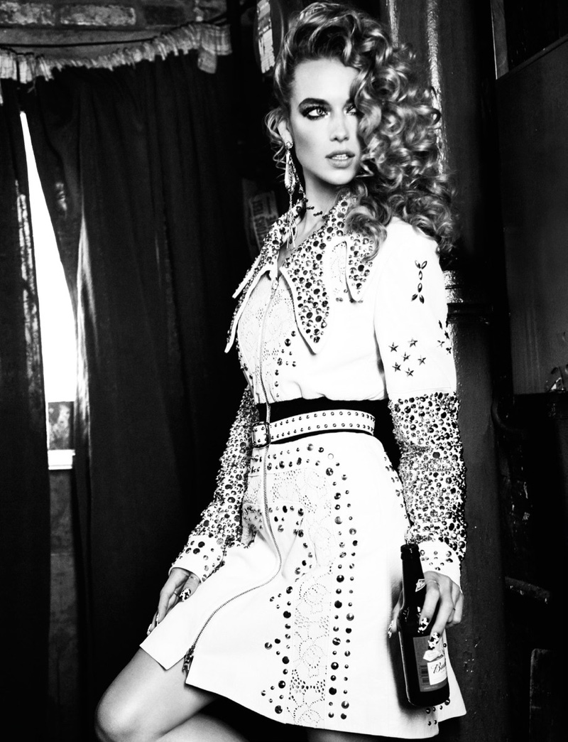 Looking cowgirl chic, Hannah Ferguson poses in studded pieces