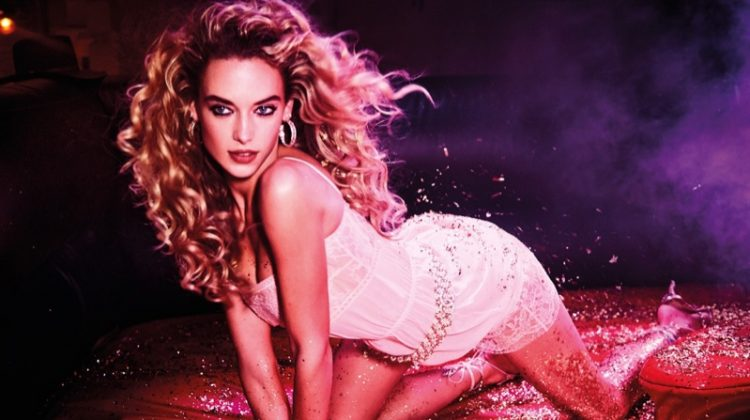 Shining in glitter, Hannah Ferguson models white lace mini dress