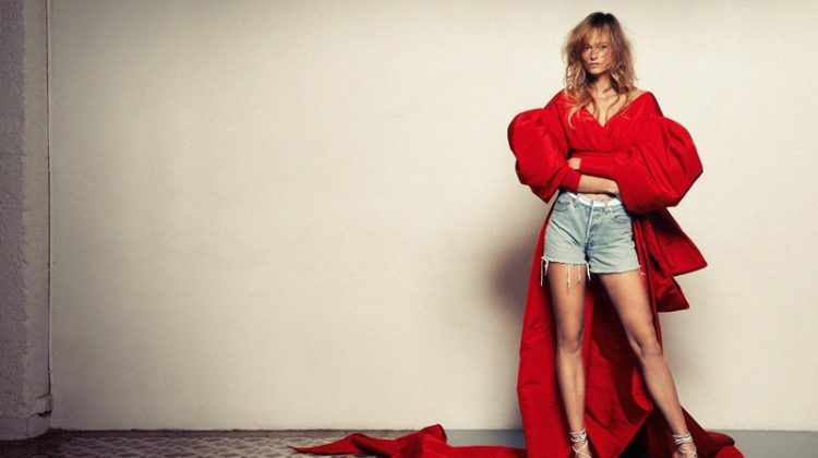 A lady in red, Nadine Strittmatter wears Alexandre Vauthier silk puff-sleeve jacket, denim shorts and strappy sandals