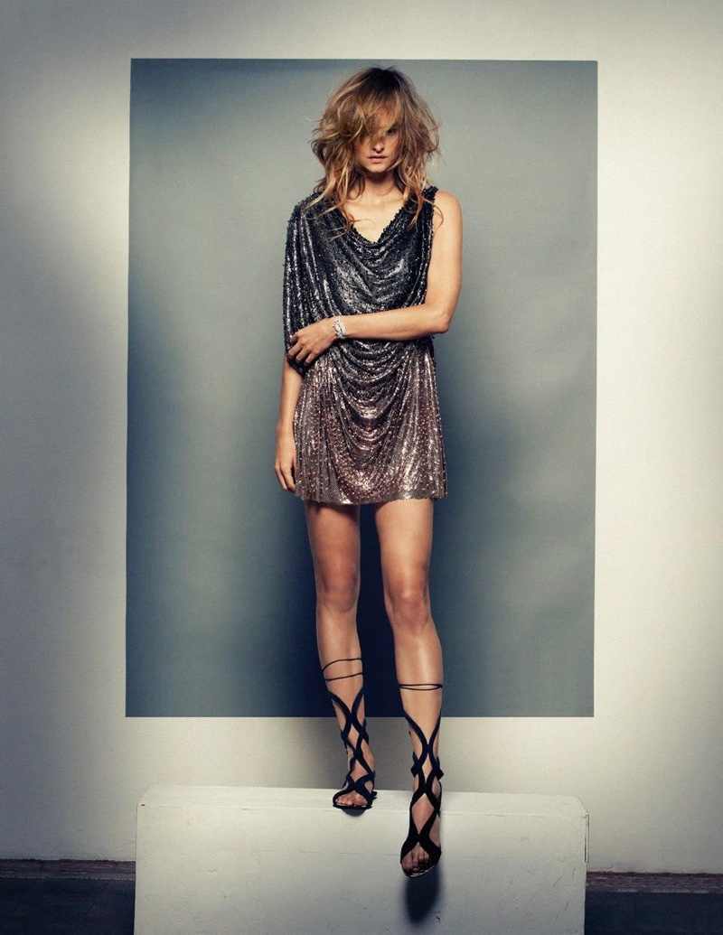 Nadine Strittmatter models Atelier Versace metal chain mini dress and suede sandals