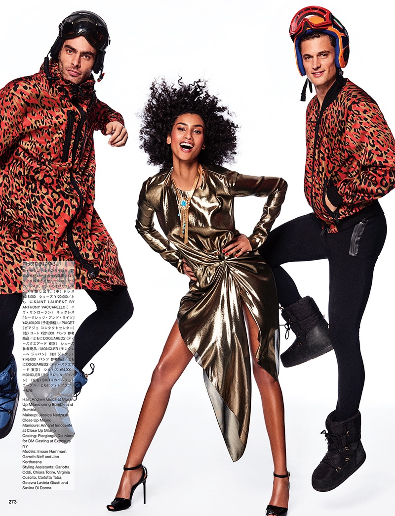 Shining like gold, Imaan Hammam poses in Saint Laurent metallic dress