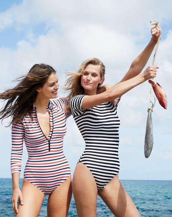 Emily wears J. Crew Long-Sleeve One-Piece Swimsuit in Multistripe $125. Toni wears J. Crew Open-Back Short-Sleeve Swimsuit in Classic Stripe $118.