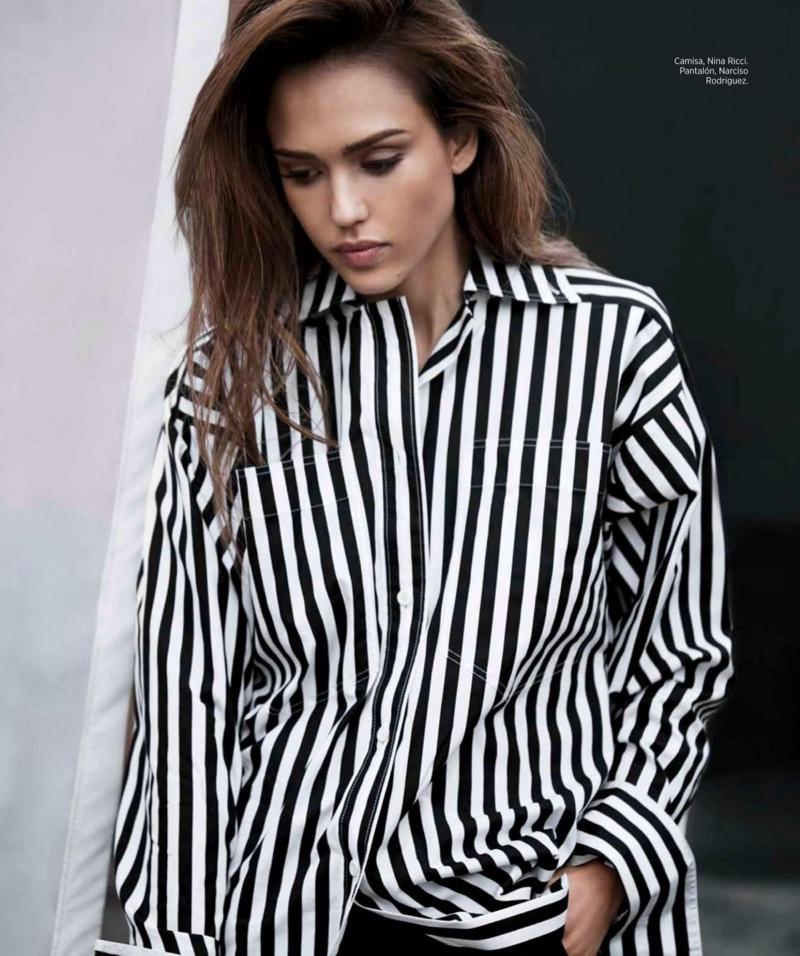 Embracing pajama style, Jessica Alba poses in Nina Ricci shirt and Narciso Rodriguez pants