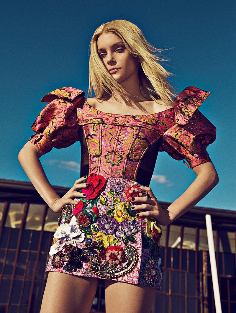 Jessica Stam models Dolce & Gabbana dress with brocade embellishment