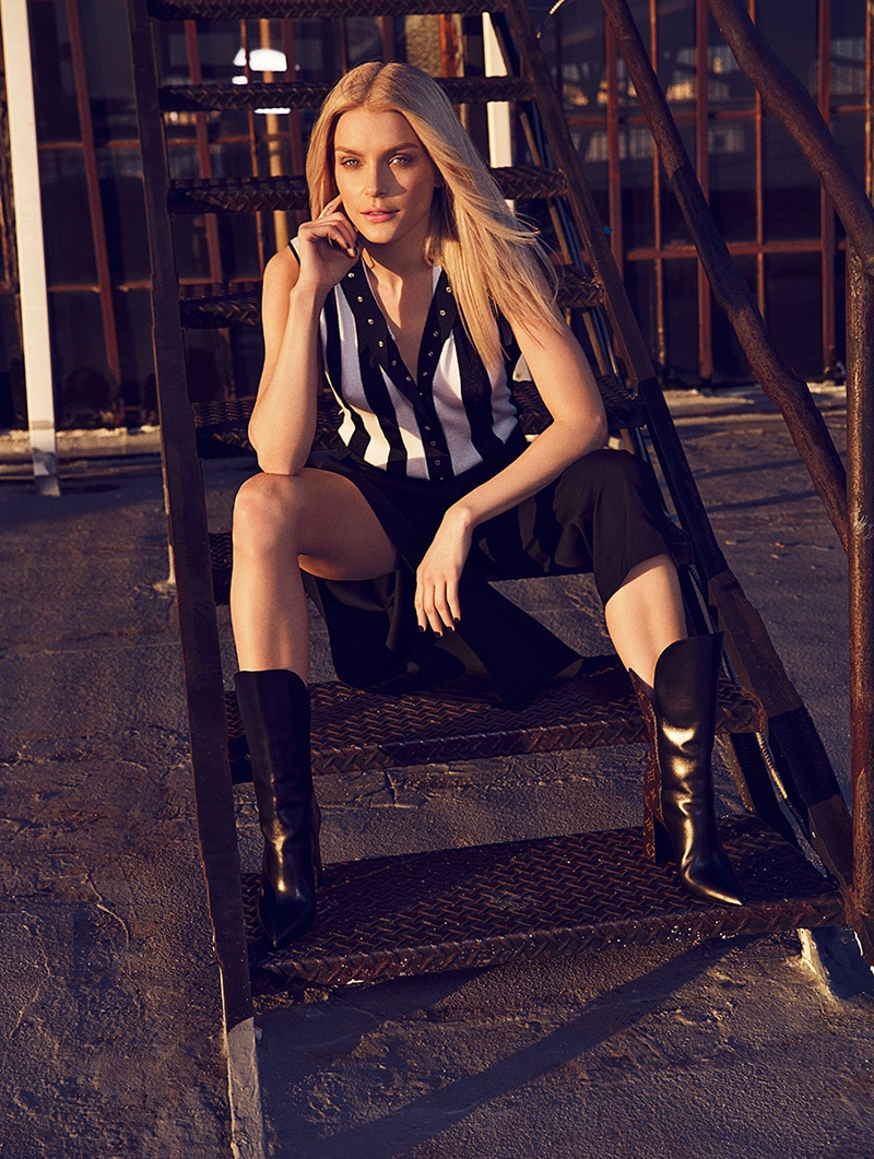 Jessica Stam wears total look Louis Vuitton