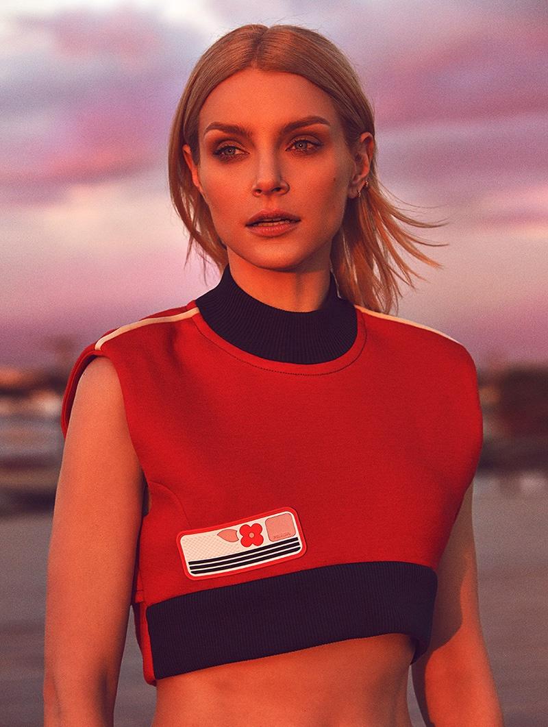 Getting her closeup, Jessica Stam poses in cropped Prada top