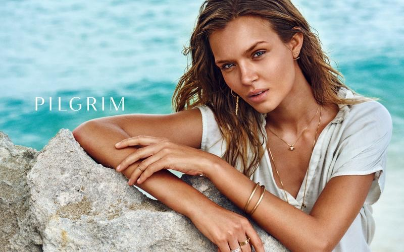 Getting her closeup, Josephine Skriver stars in Pilgrim Jewellery's spring 2017 campaign