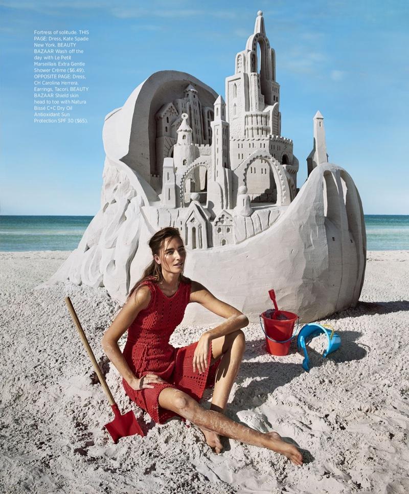 Going barefoot, Josephine le Tutour models Kate Spade dress