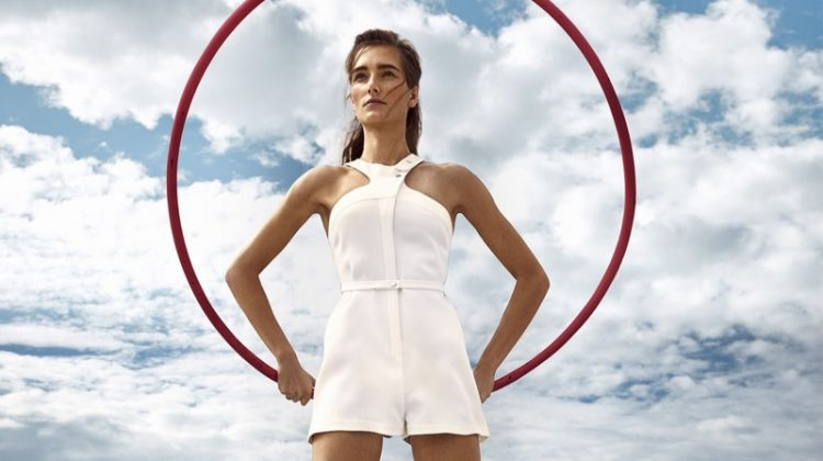 Josephine le Tutour poses in La Perla playsuit