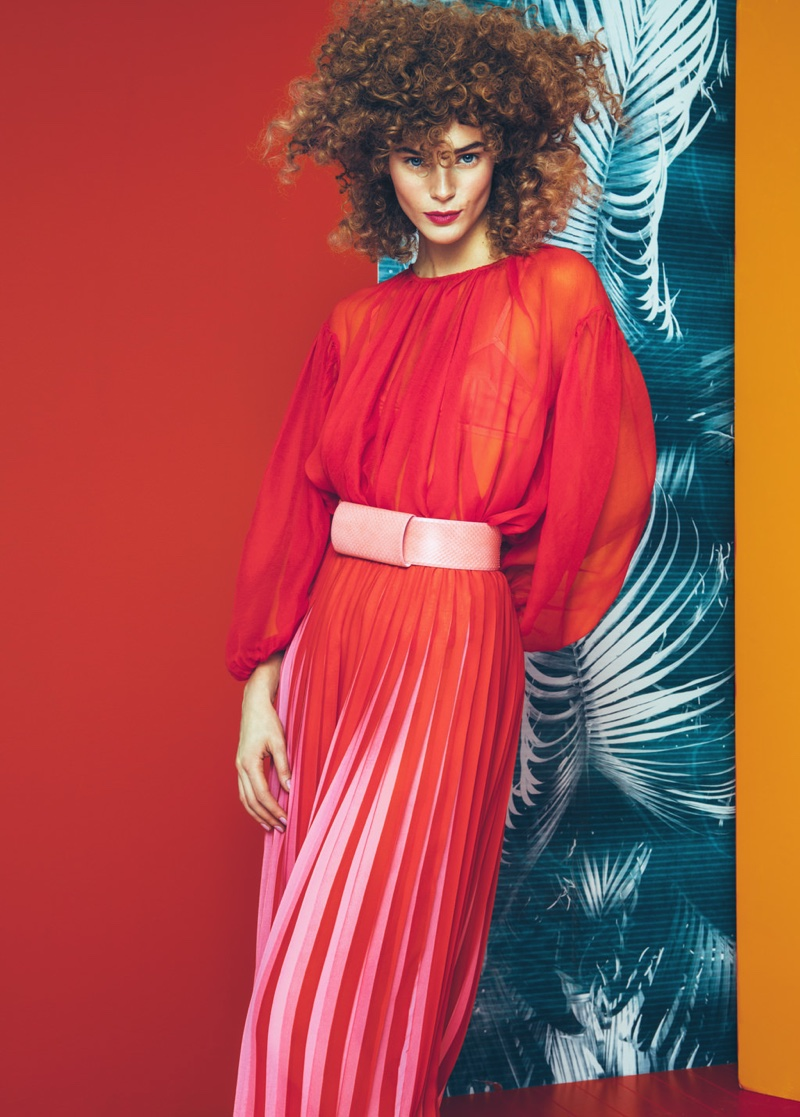 Model Juju Ivanyuk wears Gianluca Capannolo chiffon blouse, Clips skirt and Max Mara belt