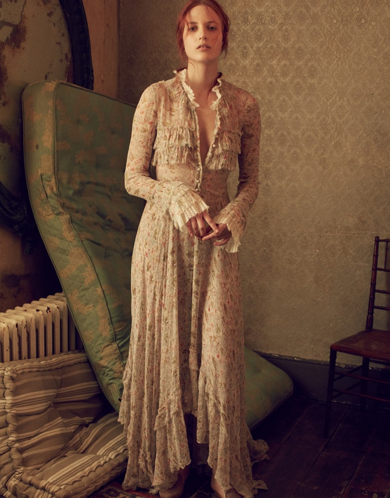 Embracing ruffles, Julia Banas wears Philosophy di Lorenzo Serafini maxi dress