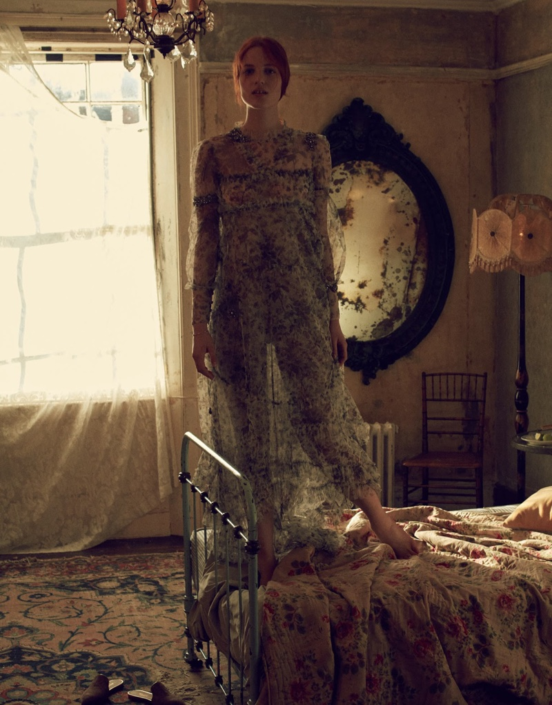 Julia Banas poses in sheer long sleeve dress from Erdem