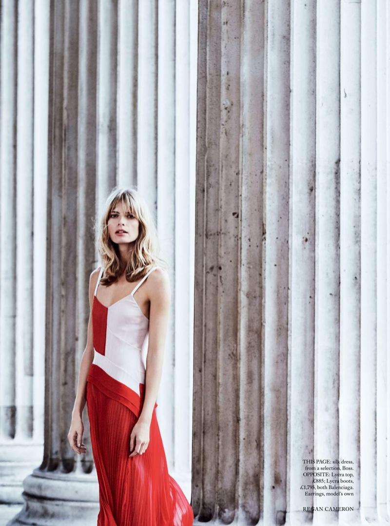 Julia Stegner wears BOSS silk dress