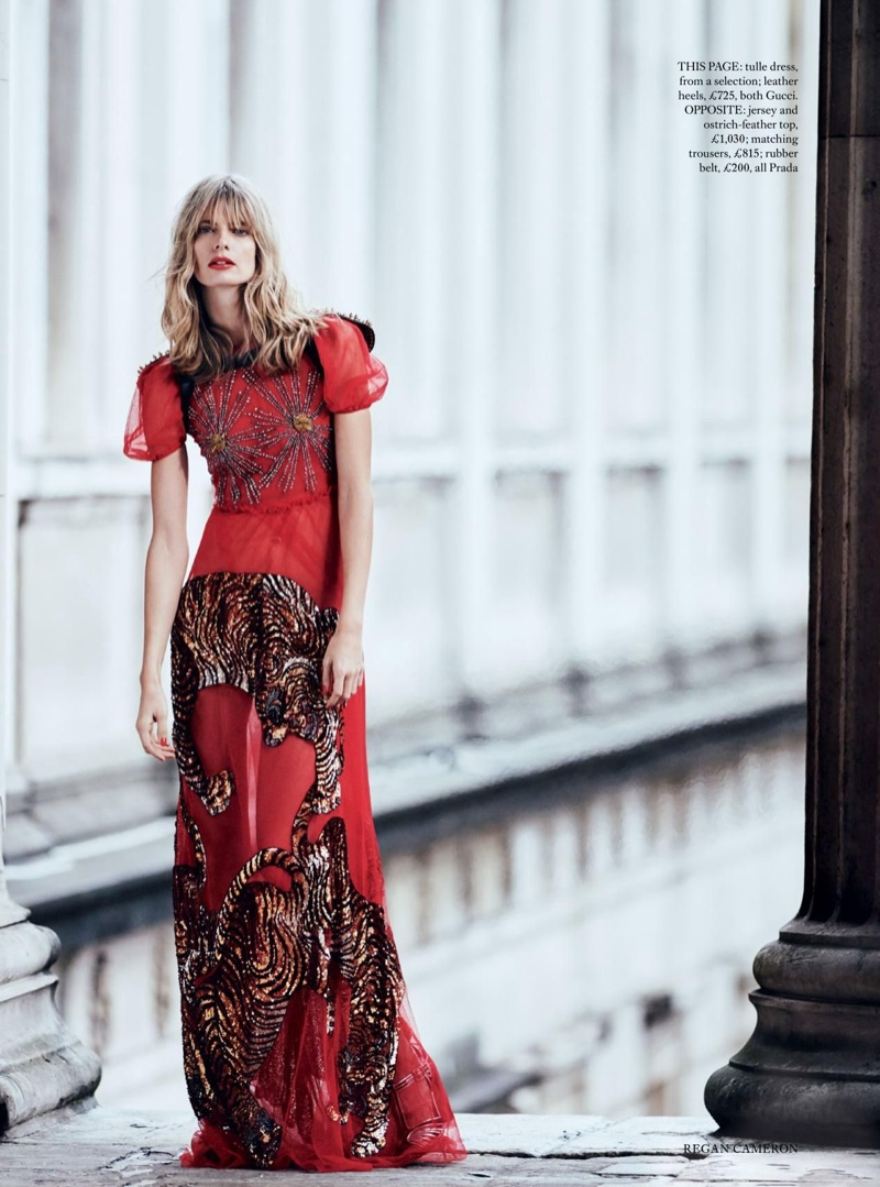Julia Stegner models Gucci tulle dress with sequined embroidery