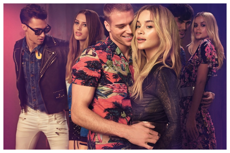 Jasmine Sanders poses with Matthew Noszka for Just Cavalli's spring 2017 campaign