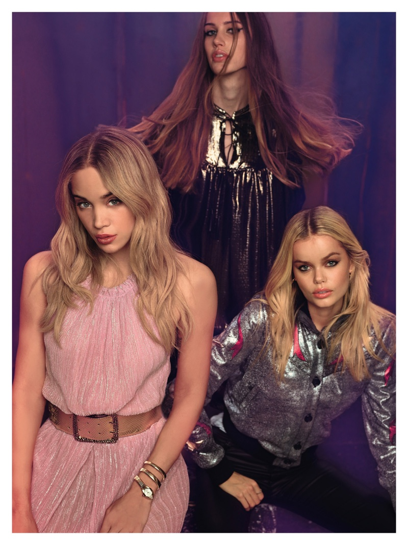 Julia, Jasmine Sanders and Frida Aasen appear in Just Cavalli's spring 2017 advertising campaign