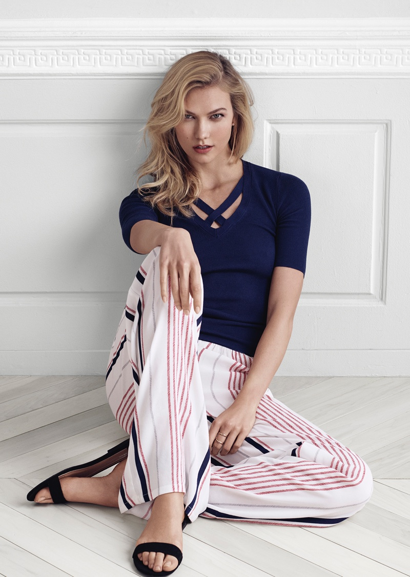 Express Elbow Sleeve Crossover V-Neck Sweater and Wide Leg Stripe Dress Pant