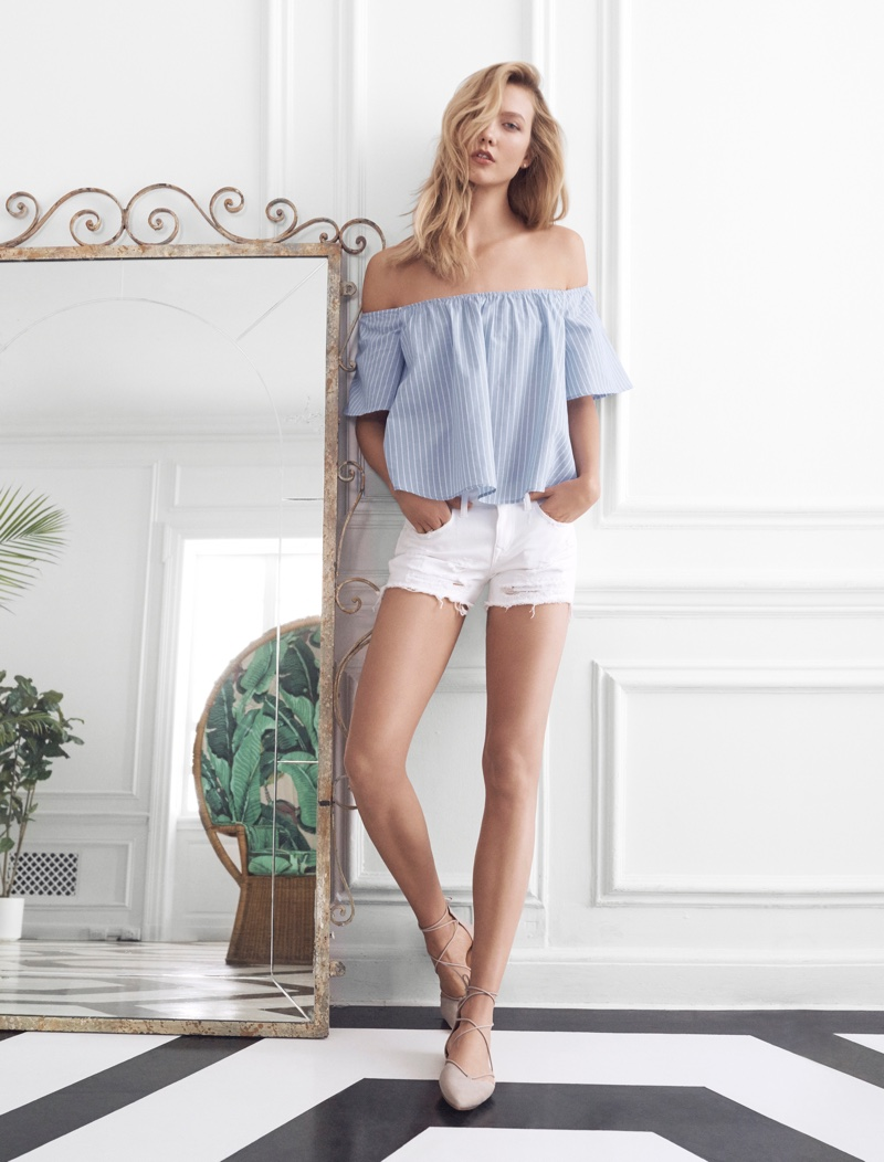 Express Blue Thick Stripe Off the Shoulder Top