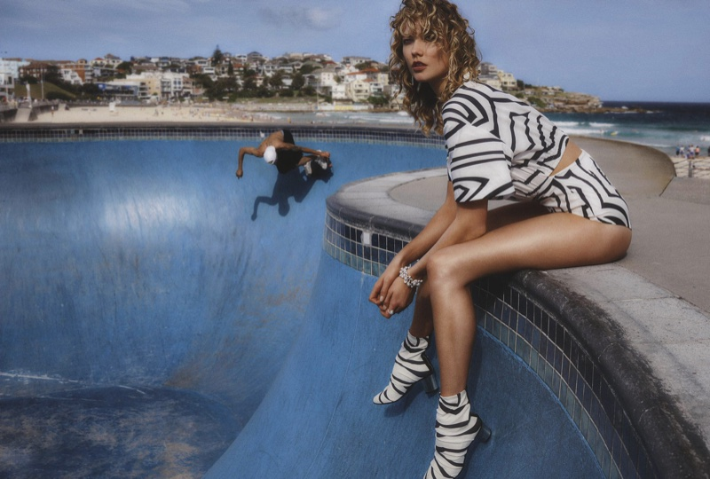 Keeping it casual, Karlie Kloss models Emilio Pucci bodysuit and heels