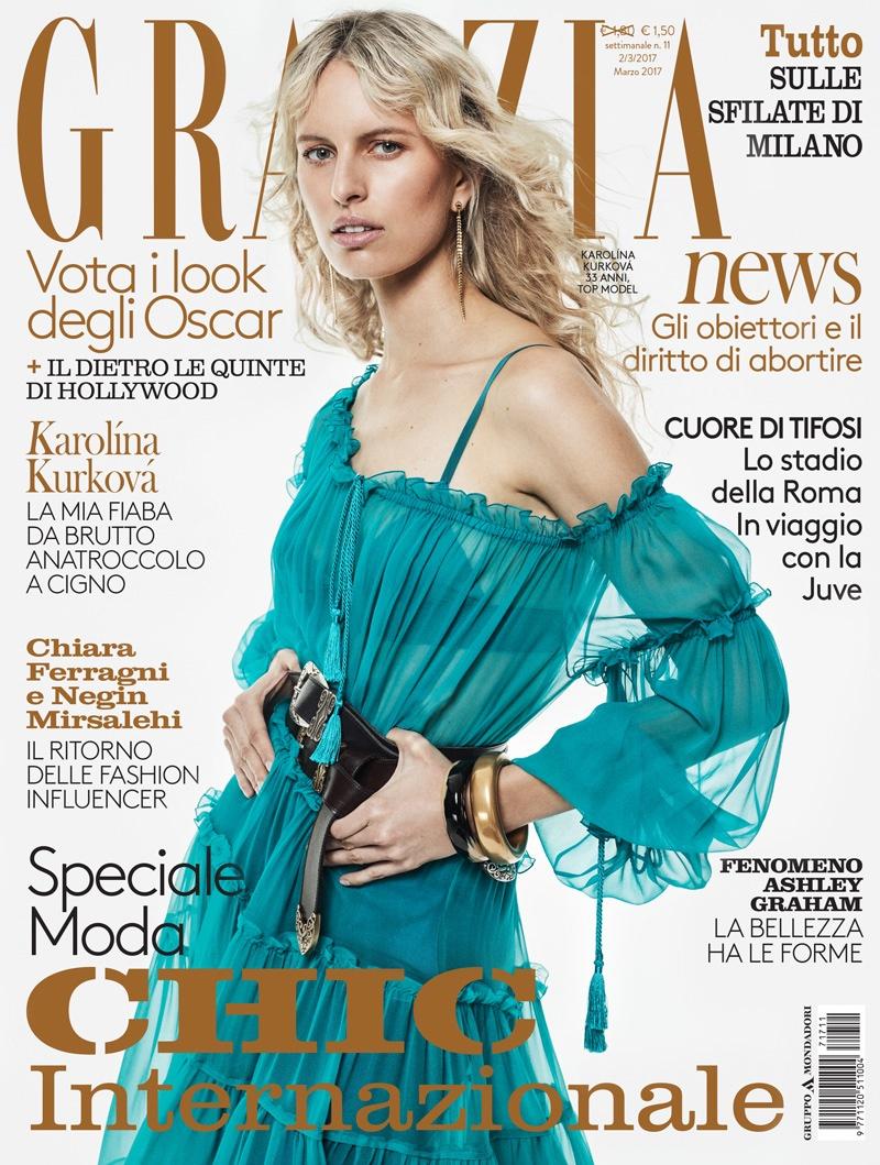 Karolina Kurkova on Grazia Italia March 2, 2017 Cover