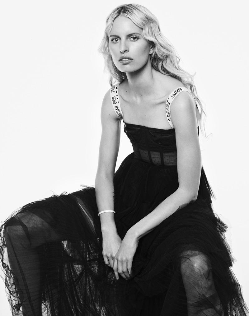 Karolina Kurkova wears Dior dress with bustier and Tiffany & Co. bracelet