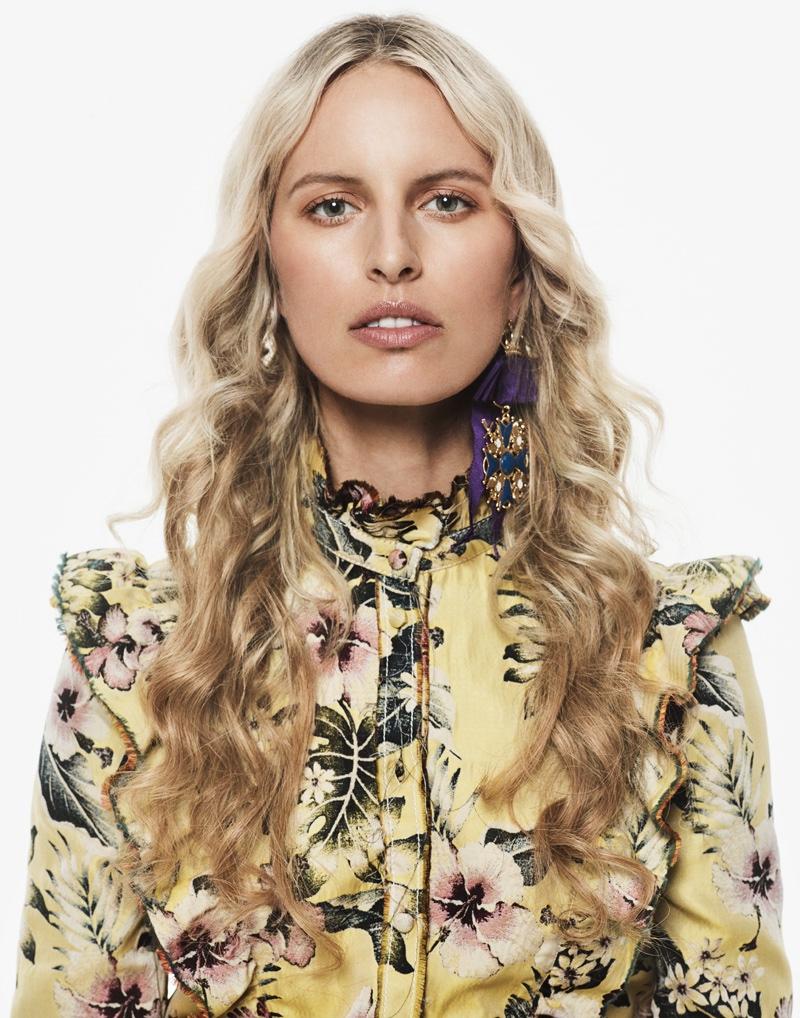 Karolina Kurkova models Philosophy di Lorenzo Serafini ruffled jacket with DSquared2 earrings