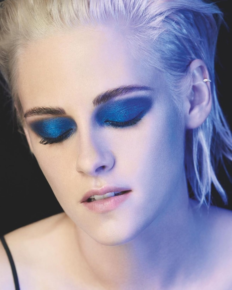 Actress Kristen Stewart wears blue eyeshadow in Chanel makeup campaign