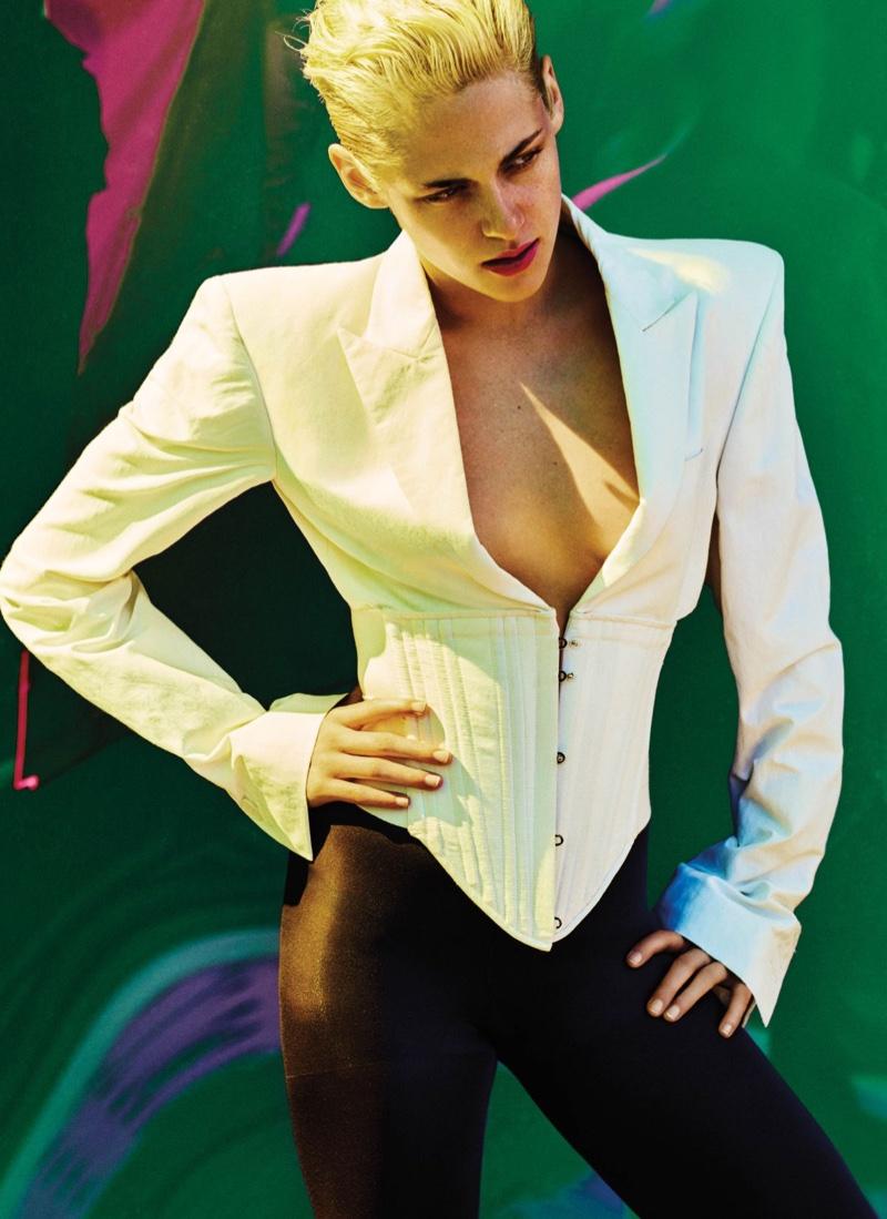 Kristen Stewart sports Stella McCartney blazer and Hue tights