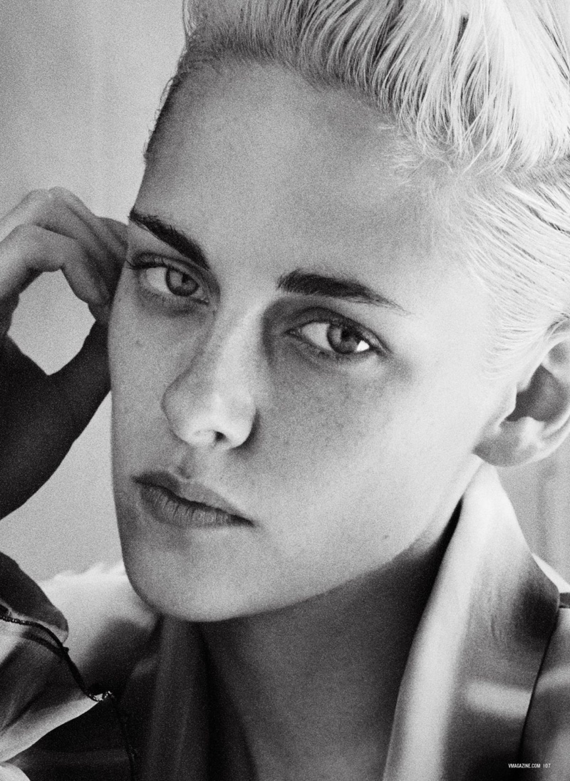 Actress Kristen Stewart gets her closeup in this black and white photograph