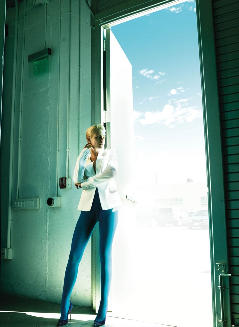 Kristen Stewart wears Michael Kors blazers, American Apparel tights and Christian Louboutin heels
