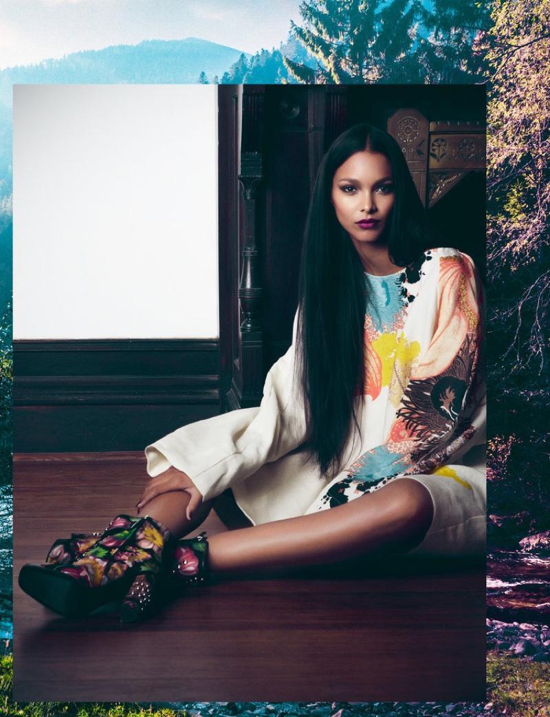 Model Lais Ribeiro wears Dries Van Noten dress and Giuseppe Zanotti booties
