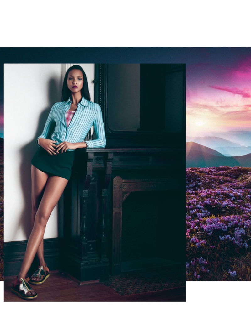Model Lais Ribeiro wears Prada shirt, tank and skirt with Maison Margiela sandals