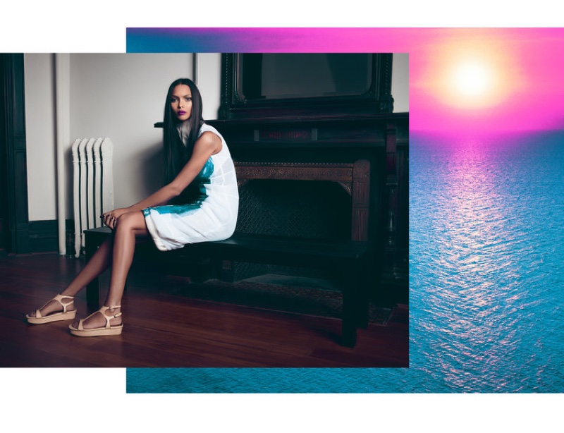 Model Lais Ribeiro poses in Celine dress and Valentino sandals