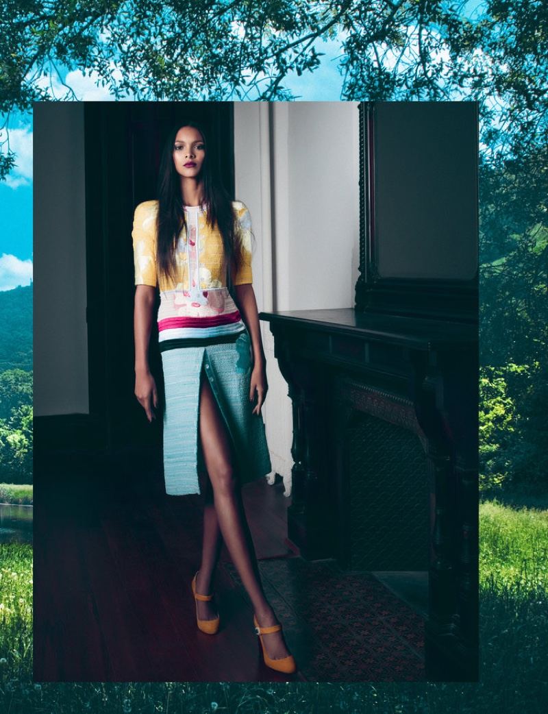 Taking a stand, Lais Ribeiro models Thom Browne dress and Christian Louboutin pumps