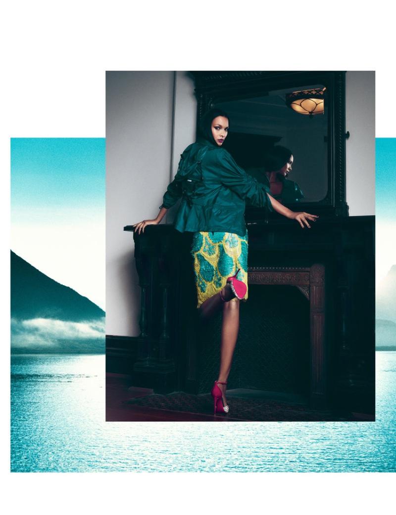 Lais Ribeiro poses in Maison Margiela jacket and skirt with Christian Louboutin heels