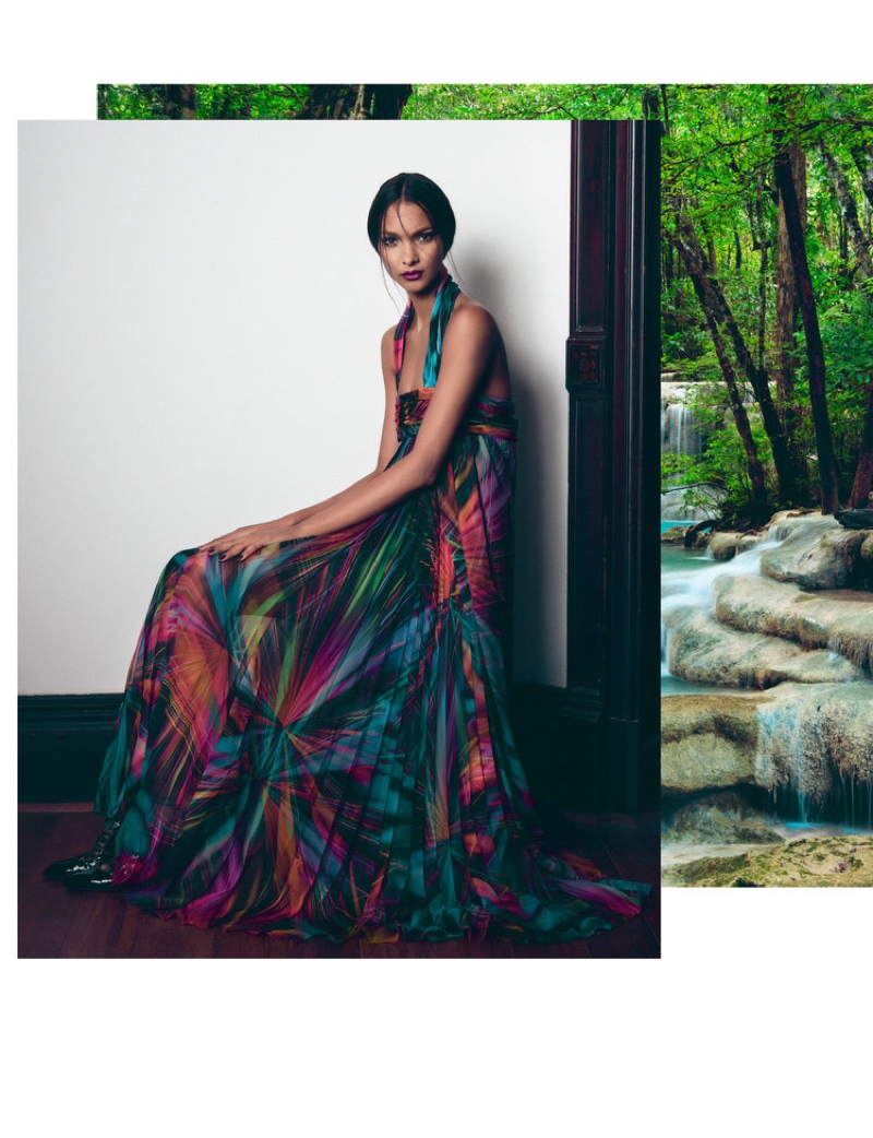 Embracing print, Lais Ribeiro wears Chanel maxi dress and Givenchy shoes