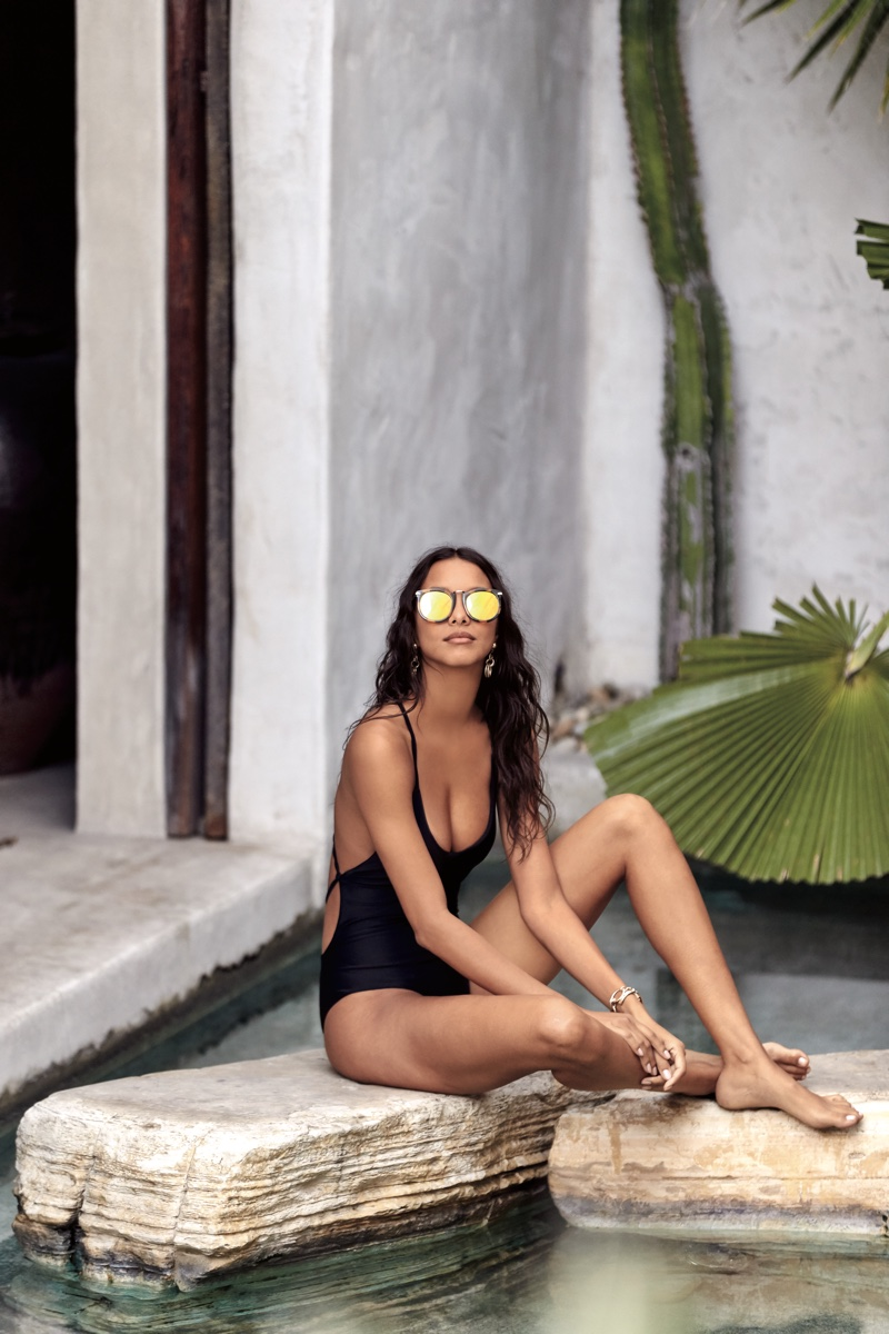 Free People Marseille Sunglasses in Tortoise and Farrah One Piece Swimsuit